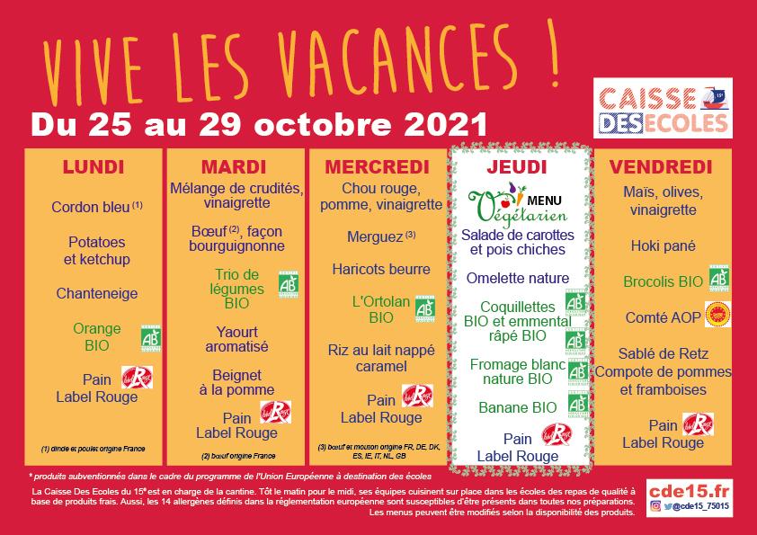 Menu de la semaine - Caisse des Ecoles Paris 15E